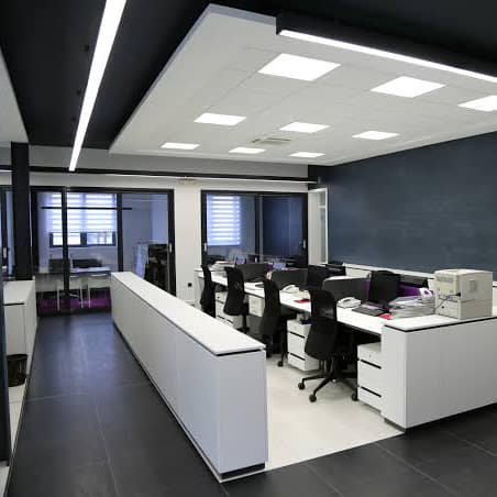 Lighting installed by electrician.